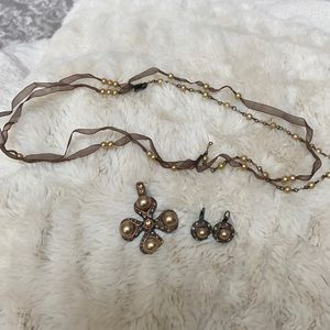Beautiful cross necklace and earring set